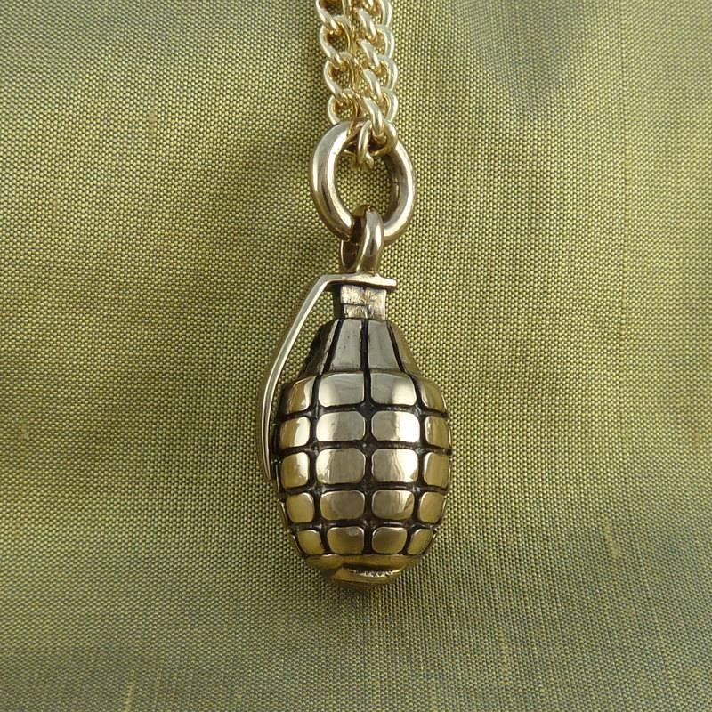 Grenade Necklace Bronze Hand Grenade Pendant On 24 Gold In Current Grenade Pendants (#10 of 15)