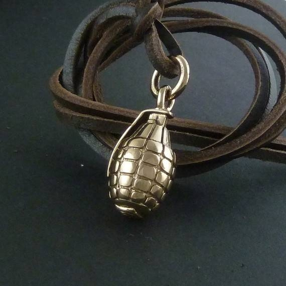 Inspiration about Grenade Necklace Bronze Hand Grenade Pendant On Leather For Most Up To Date Grenade Pendants (#3 of 15)