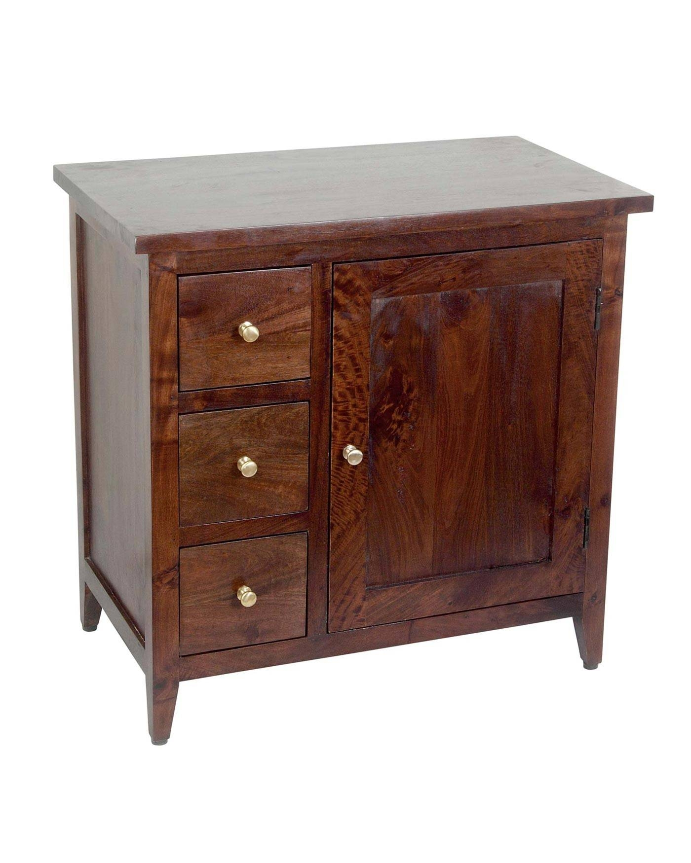 Inspiration about Groove Dark Shade Solid Mango Wood Small Sideboard With Drawers With Small Sideboards With Drawers (#12 of 15)