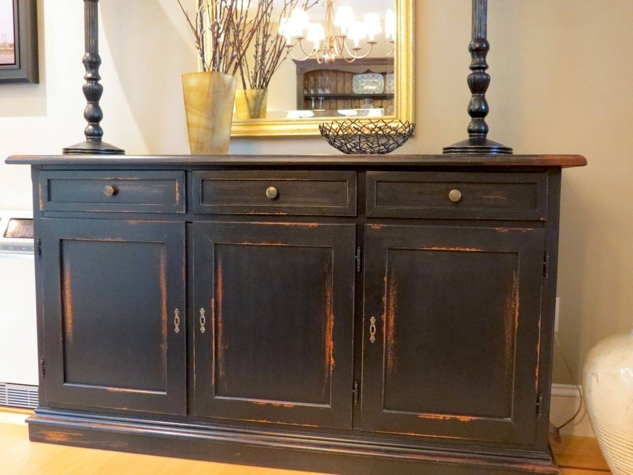 Hand Made Black Barn Wood Buffet With Distressed Multi Color Rub In Black Wood Sideboards (#5 of 15)