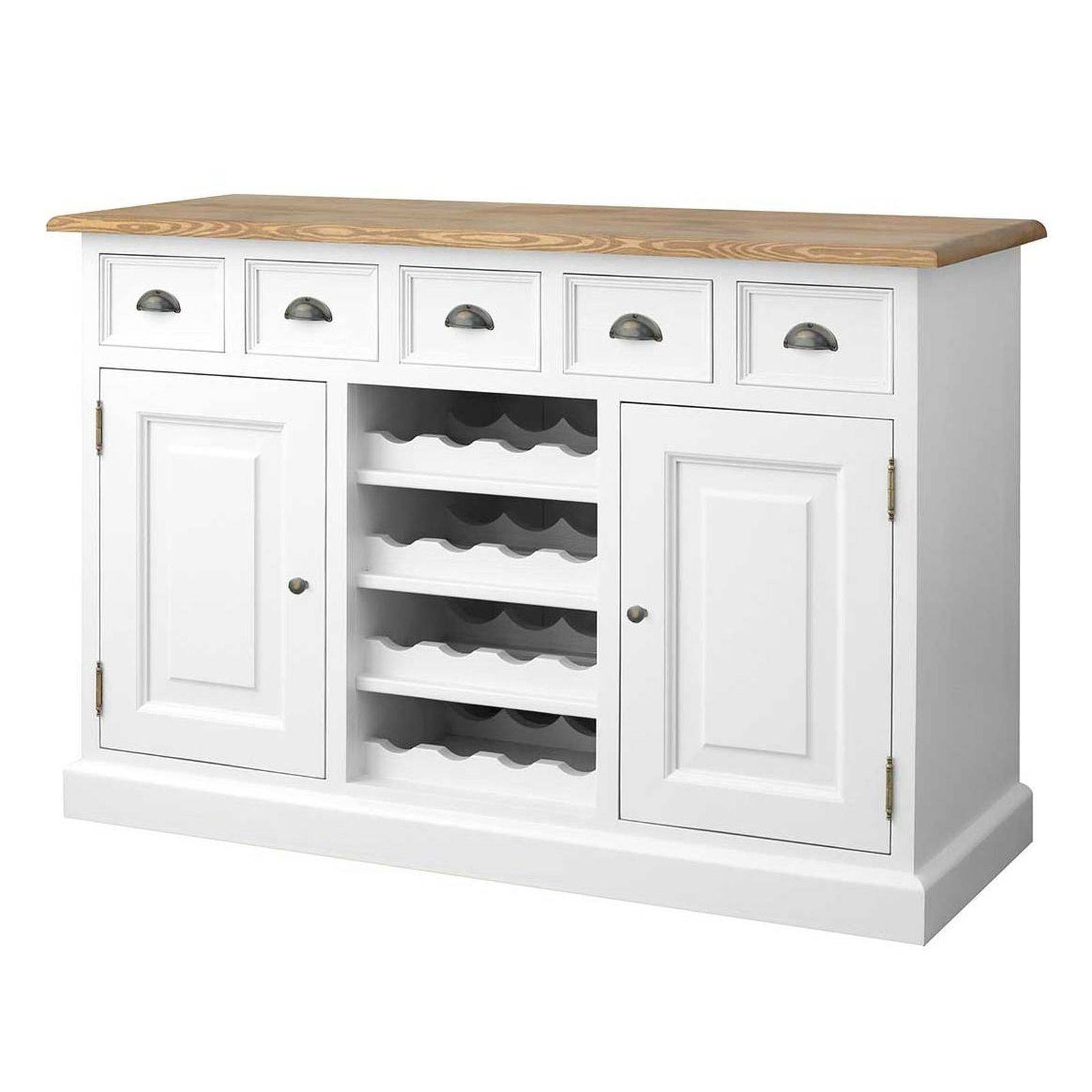 Harrogate White Painted Pine Furniture Sideboard With Wine Rack With Regard To White Sideboards With Wine Rack (#5 of 15)