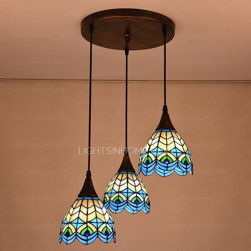 High End Peacock Pattern 3 Light Tiffany Pendant Lights With Regard To Most Popular Tiffany Pendant Lights (View 2 of 15)