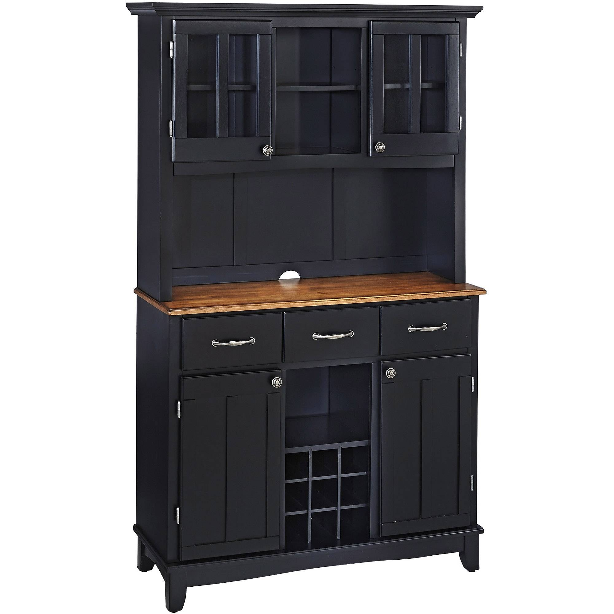 Home Styles Large Buffet With Two Glass Door Hutch, Black With In Black Wood Sideboards (#9 of 15)