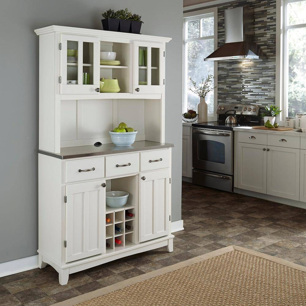 Home Styles White Buffet With Hutch 5100 0023 22 – The Home Depot Within White Kitchen Sideboards (View 7 of 15)