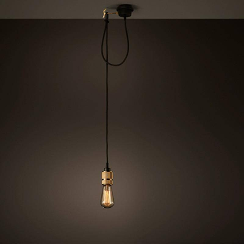 Hooked Industrial Brass Single Bare Edison Bulb Pendant Light With Industrial Bare Bulb Pendant Lights (#11 of 15)