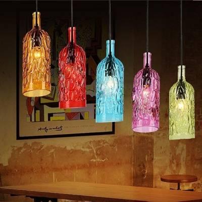 Industrial Pendant Light Original Wine Bottle, Figured Glass Shade Intended For Wine Bottle Pendant Light (View 14 of 15)