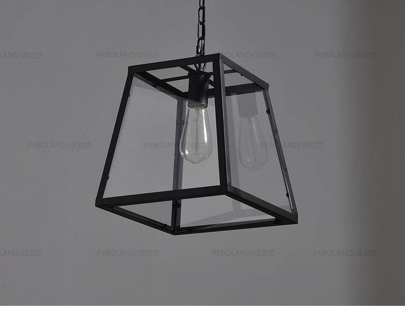 Industrial Retro Vintage Metal Pendant Lights Hanging Chain Lamps With Most Recent Box Pendant Lights (#9 of 15)