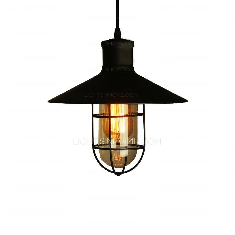 Industrial Type One Light Wrought Iron Pendant Lights Within Wrought Iron Pendant Lights (View 5 of 15)