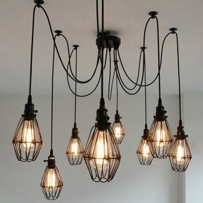 Industrial Wire Guard 8 Bulbs Multi Light Pendant – Beautifulhalo For Most Popular Multi Bulb Pendants (#10 of 15)