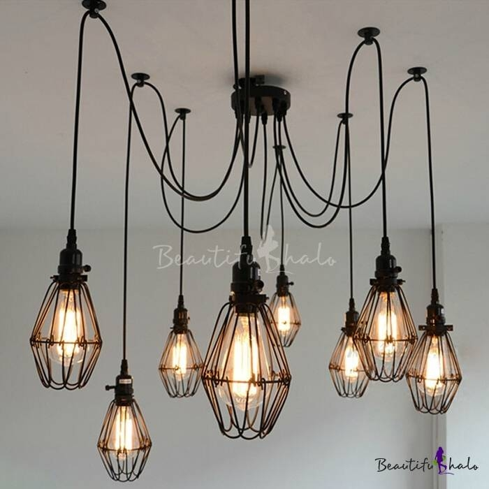 Industrial Wire Guard 8 Bulbs Multi Light Pendant – Beautifulhalo Throughout Most Recent Multi Bulb Pendant Lights (View 1 of 15)
