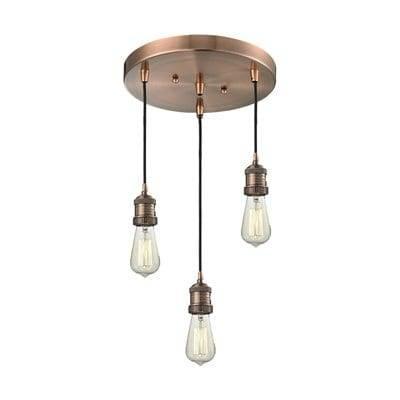 Innovations Lighting 211/3 Bare Bulb 3 Light Pan Chandelier | The Mine Inside Three Light Bare Bulb Pendants (View 14 of 15)