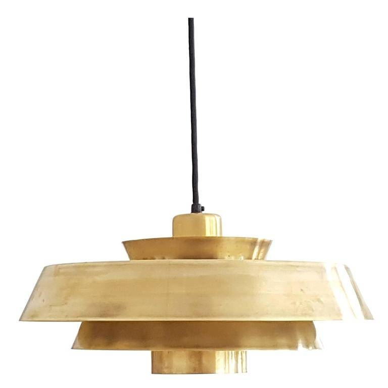 Jo Hammerborg 'nova' Pendant Solid Brass Danish Design Lamp, 1960S Intended For Most Recent Danish Pendant Lighting (#7 of 15)