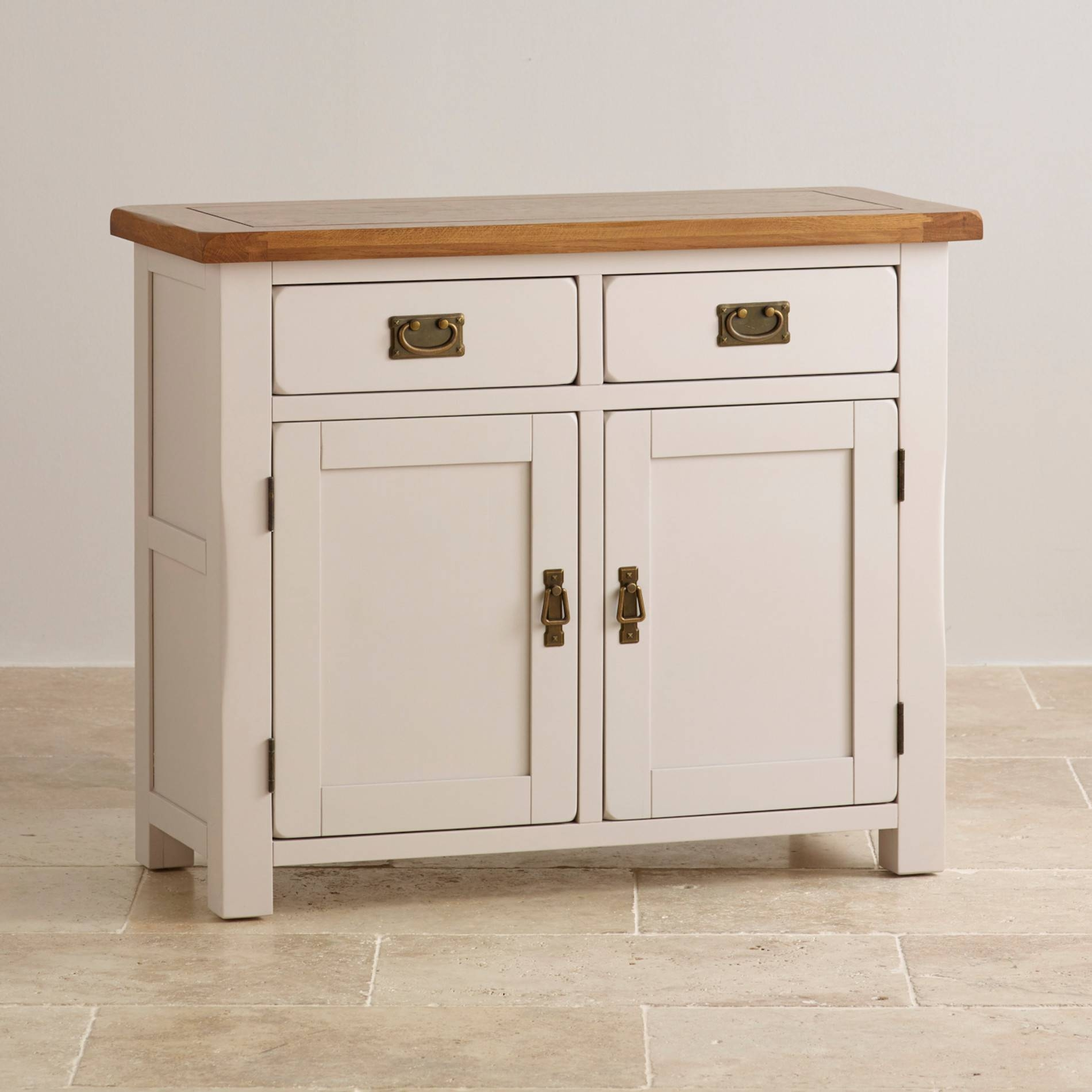 Kemble Small Painted Sideboard In Rustic Solid Oak Within Small Sideboards With Drawers (View 8 of 15)
