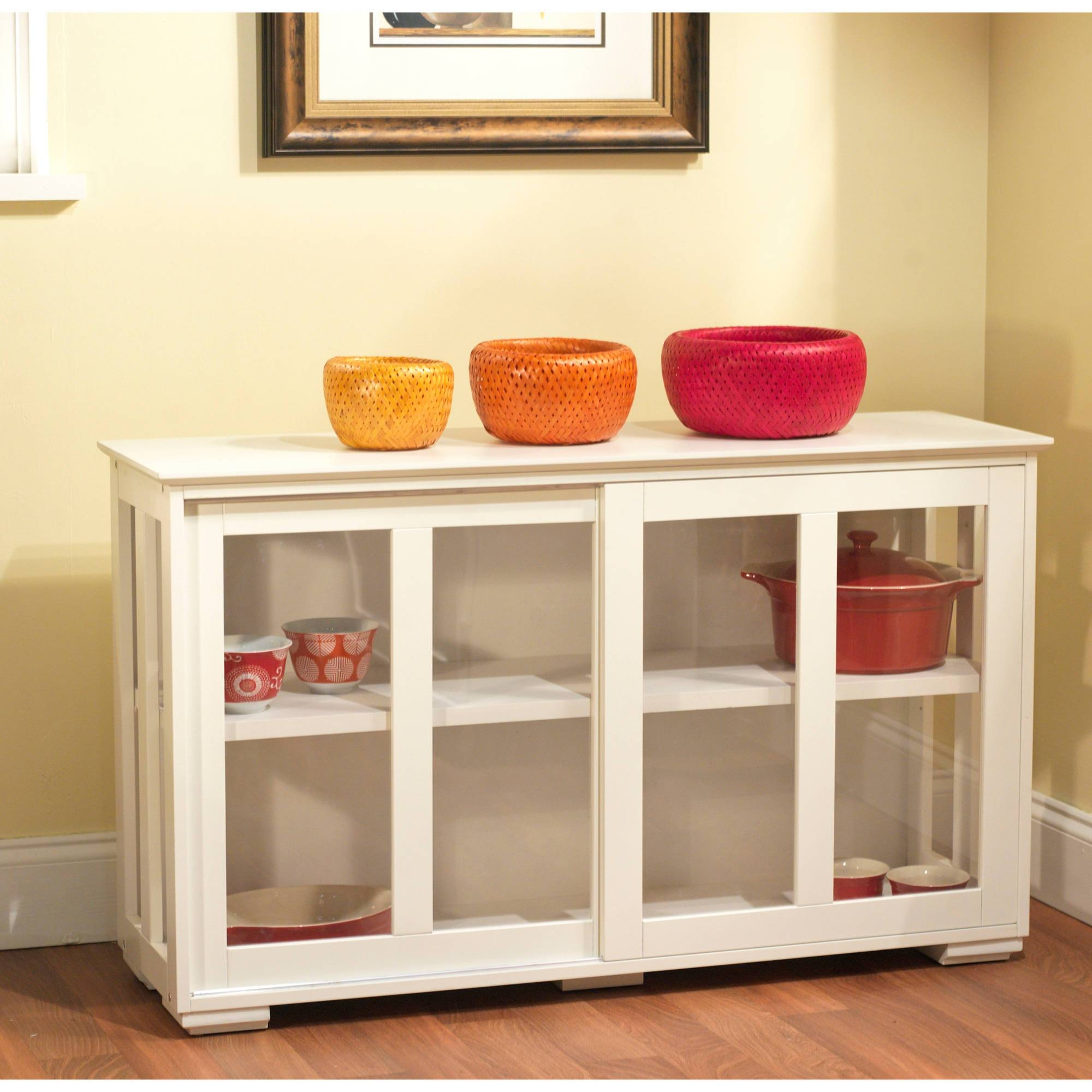 Kitchen : Black Sideboard Cabinet Narrow Buffet Table Kitchen For Black Sideboards With Glass Doors (View 6 of 15)