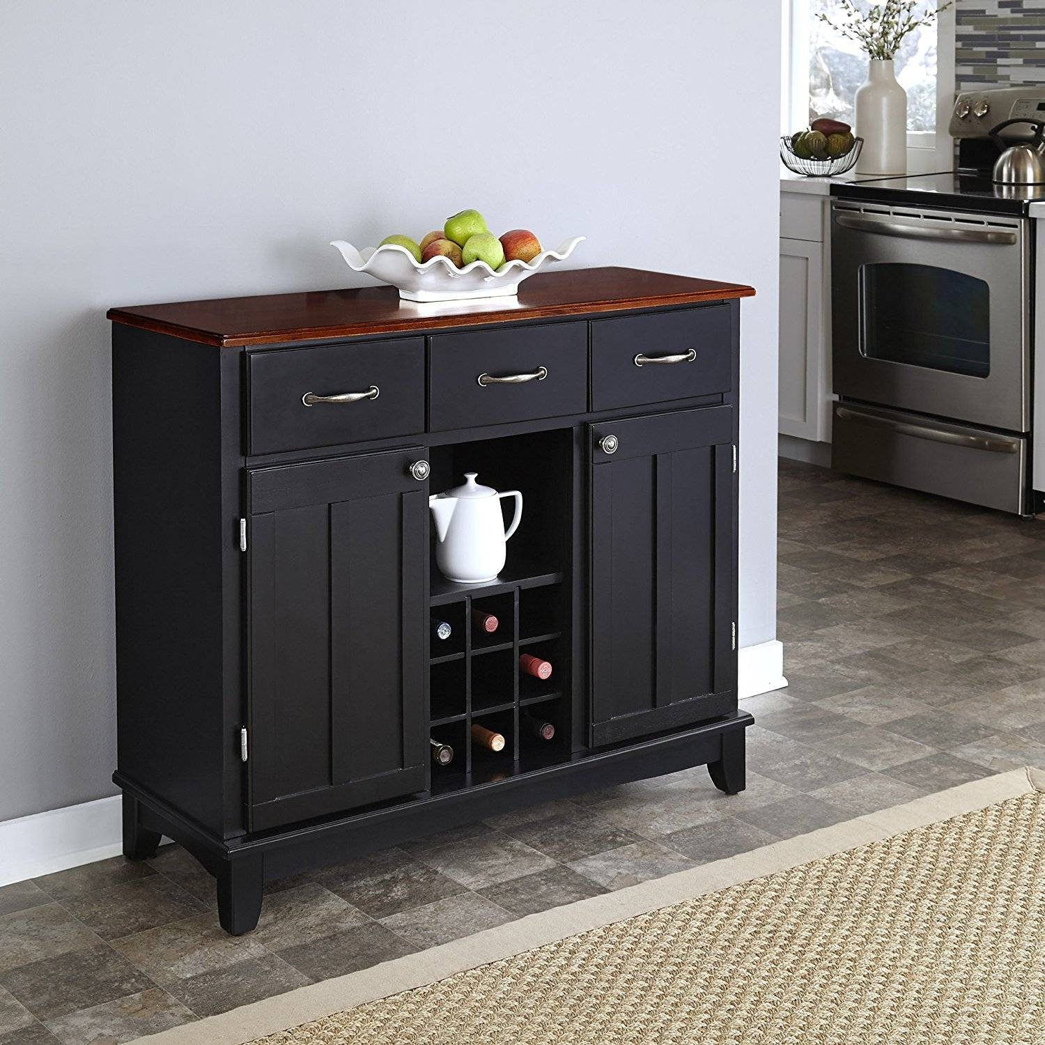 Kitchen : Long Buffet Table Sideboard Sale Dining Sideboard Large Within Elegant Black Sideboards And Buffets (#7 of 15)