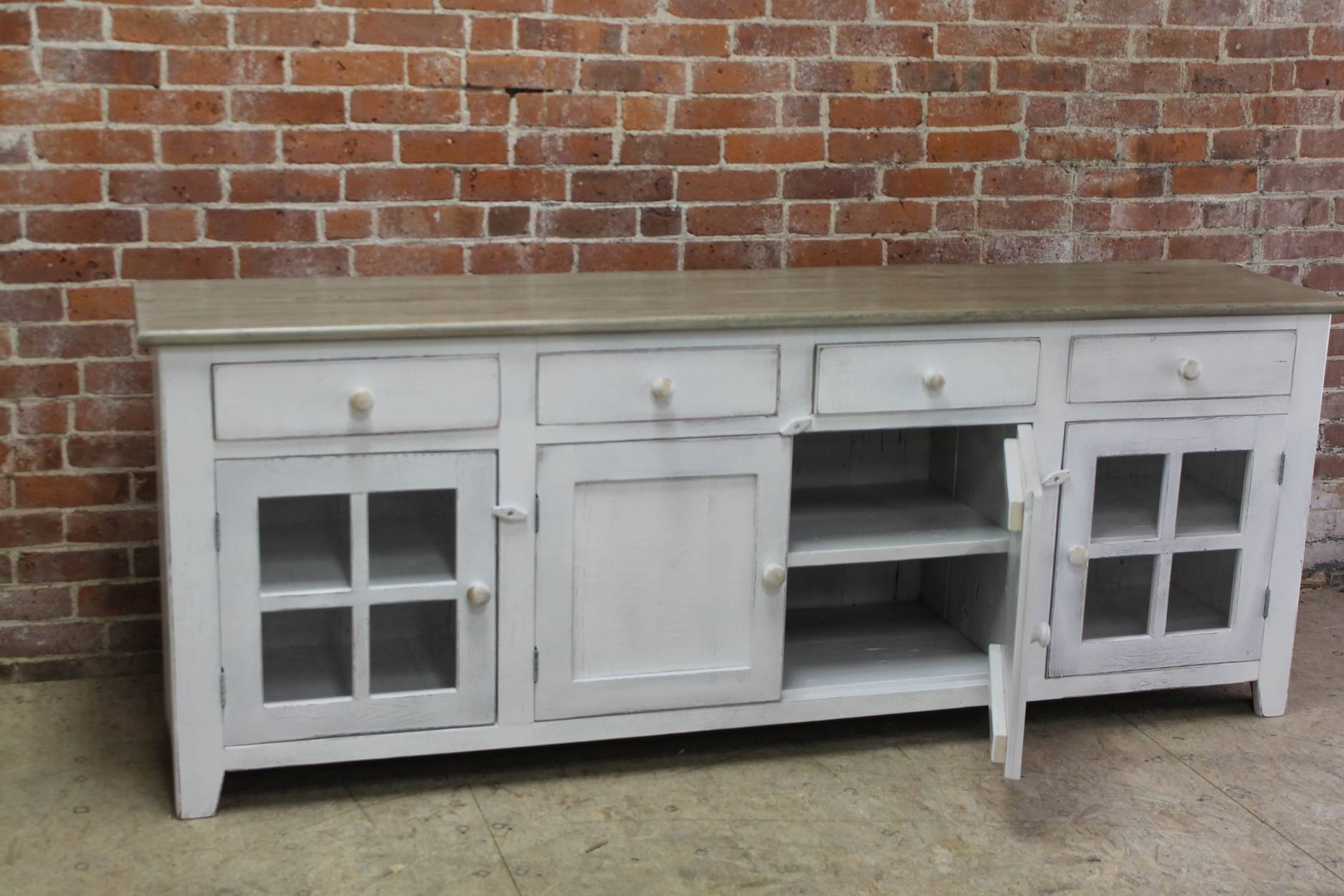 Large 80Inch Coastal Server – Ecustomfinishes In 80 Inch Sideboards (#4 of 15)