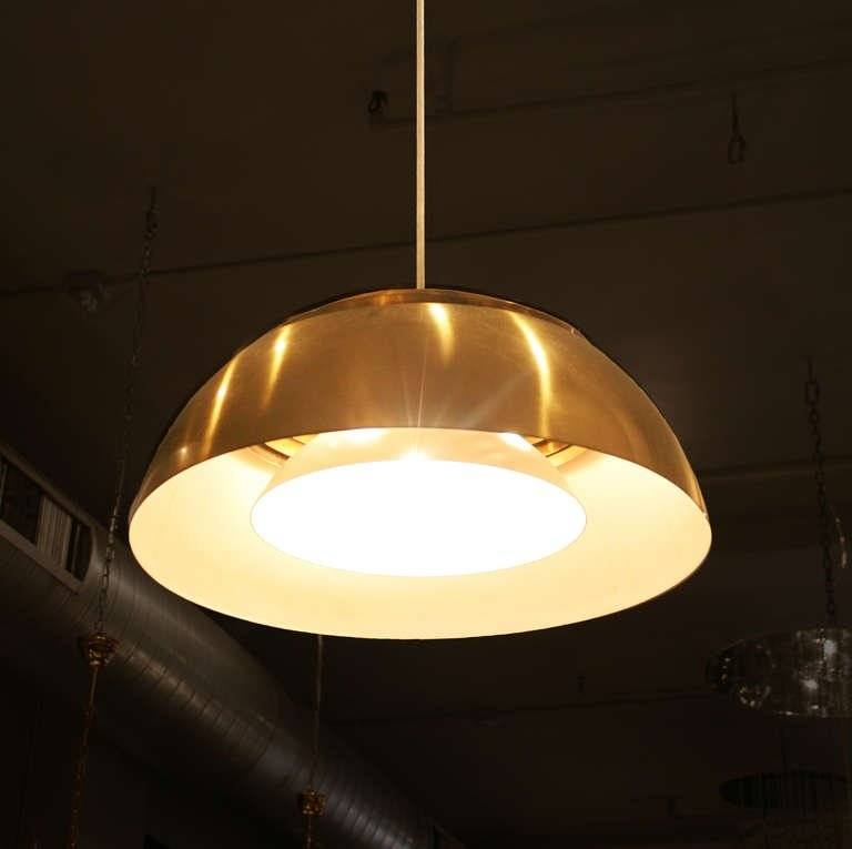 "Large ""aj"" Brass Pendantarne Jacobsen For Louis Poulsen, 1960 Pertaining To Most Current Louis Poulsen Pendant Lights (#7 of 15)"