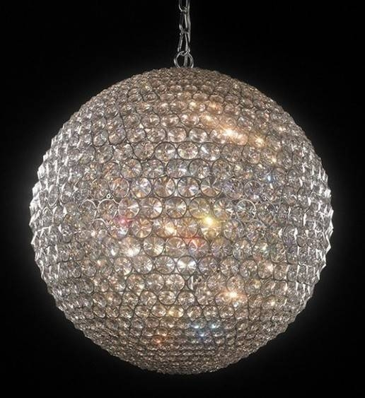 Large Crystal Globe Pendant Light From Richard Hathaway Lighting Regarding Most Current Crystal Pendant Lights Uk (#14 of 15)