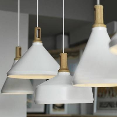 Large Pendant Lighting With Wood Holder, Aluminum Modern And Chic Regarding Most Up To Date Large White Pendant Lights (#10 of 15)