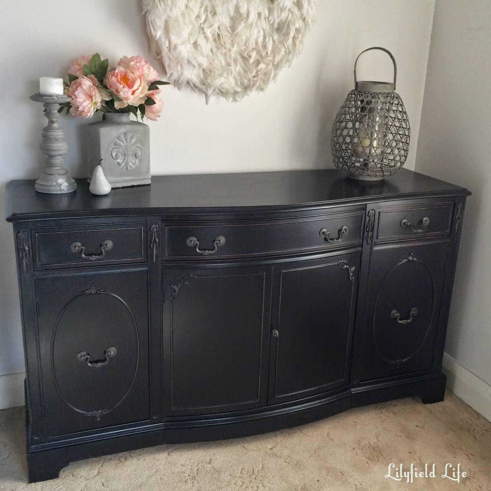 Lilyfield Life: How To Paint Furniture Black Like A Boss In White Distressed Finish Sideboards (#7 of 15)