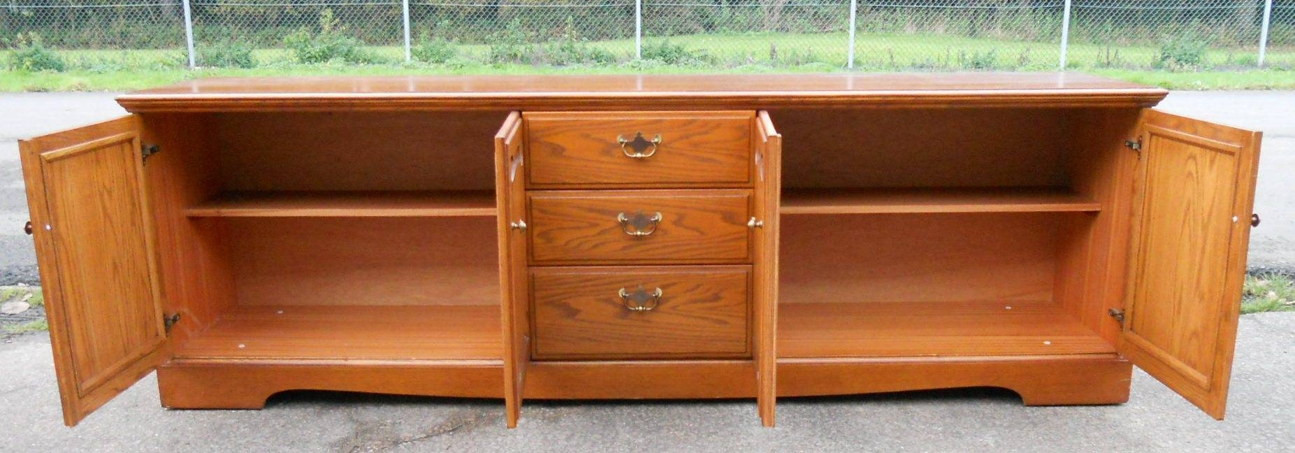 Low Oak Sideboard Cupboard Basewilliam Laurence – Sold With Long Low Sideboards (View 2 of 15)