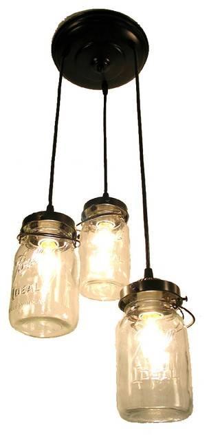 Mason Jar Chandelier Trio With Vintage Quart Jars – Pendant Pertaining To Mason Jar Pendant Lights (View 9 of 15)