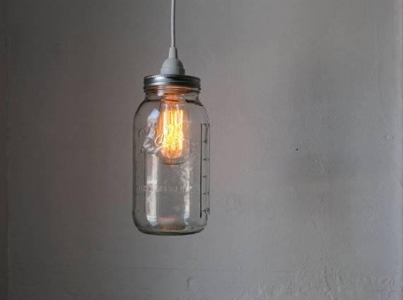 Mason Jar Pendant Lamp Large Half Gallon Mason Jar Hanging With Regard To Mason Jar Pendant Lights (View 2 of 15)