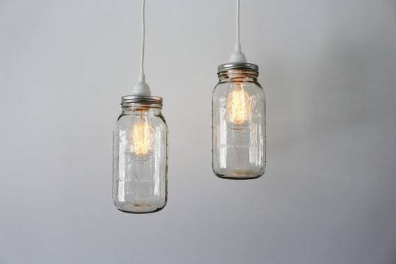 Mason Jar Pendant Lights 2 Clear Half Gallon Mason Jar Regarding Mason Jar Pendant Lights (View 5 of 15)