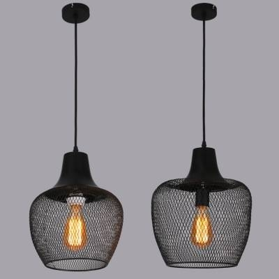 Matte Black 1 Head Foyer Pendant Lighting With Mesh Shade Pertaining To Most Recently Released Black Pendant Lights (#12 of 15)