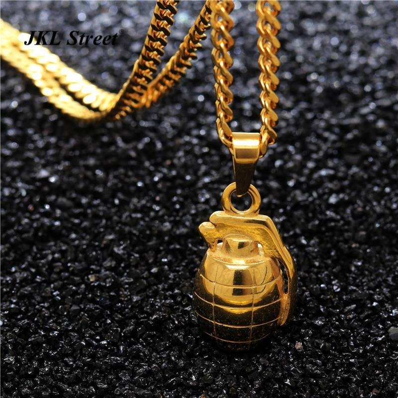 Mens Stainless Steel Gold Solid Hand Grenade Army Bomb Pendant In Newest Grenade Pendants (#12 of 15)