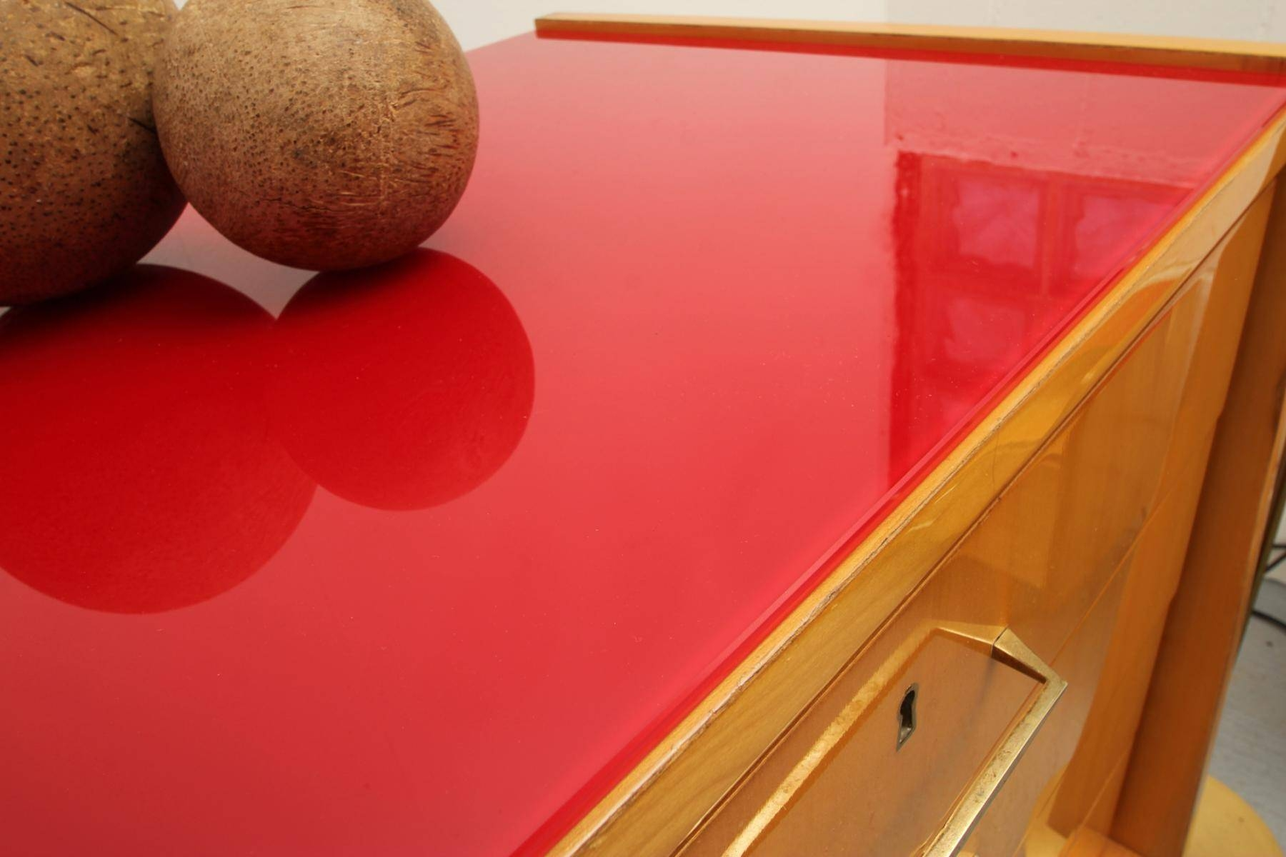 Mid Century Ash Sideboard With Red Glass Top, 1950S For Sale At Pamono In Glass Top Sideboards (#8 of 15)