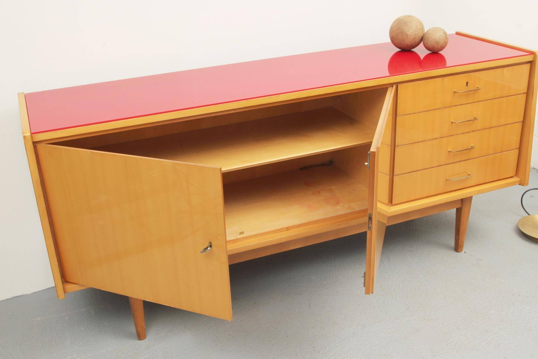 Mid Century Ash Sideboard With Red Glass Top, 1950S For Sale At Pamono Throughout Glass Top Sideboards (#9 of 15)