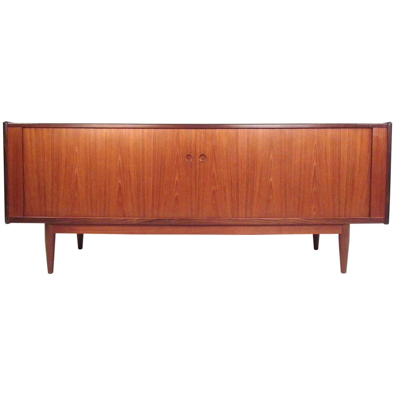 Mid Century Modern Danish Teak Tambour Sideboard In The Style Of Within Mid Century Sideboards (#8 of 15)