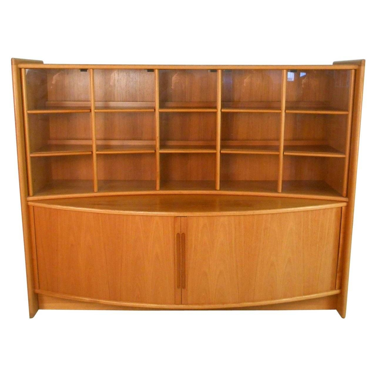 Mid Century Modern Teak Tambour Sideboard And Display For With Regard To Mid Century Sideboards (#9 of 15)