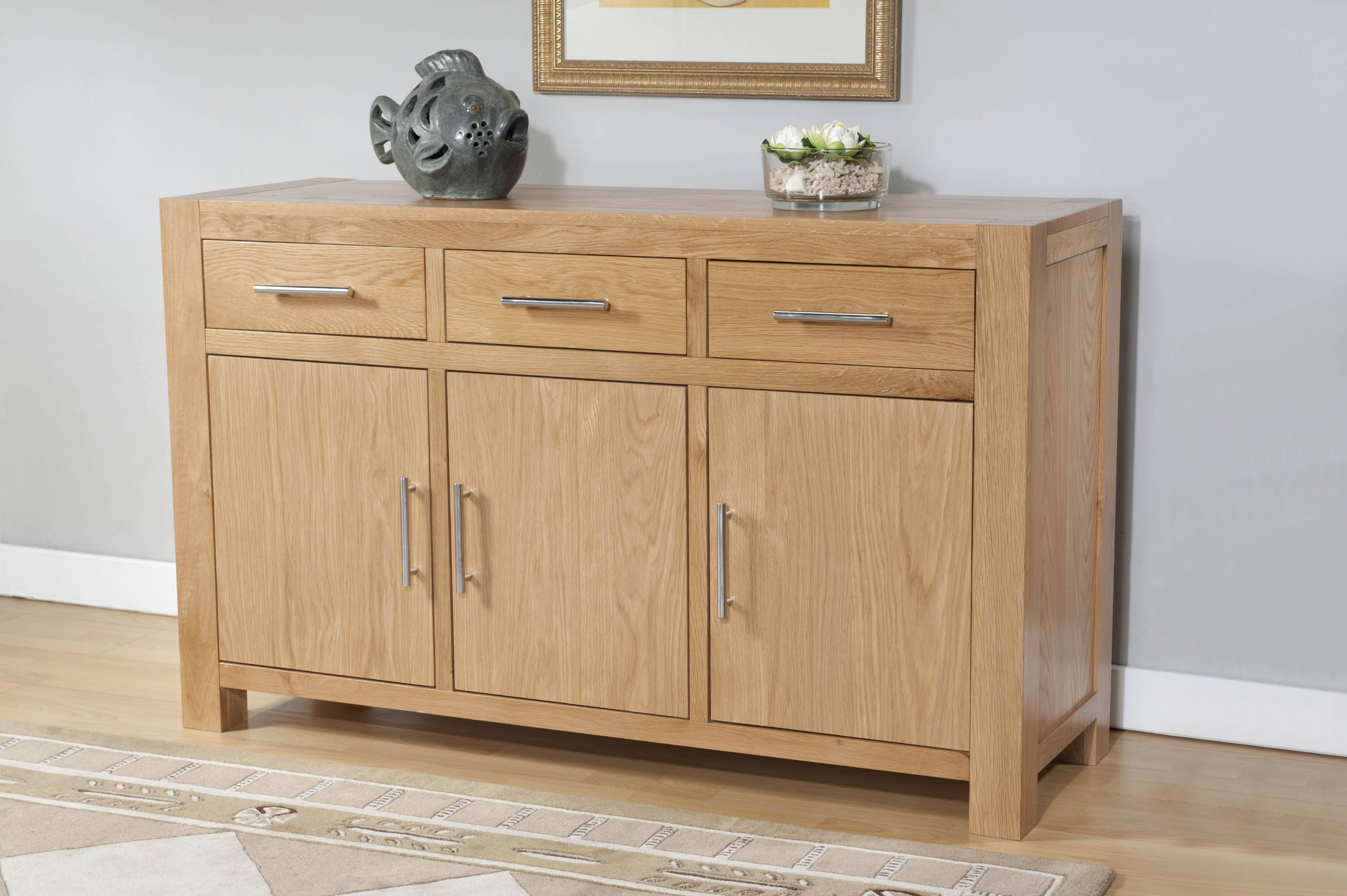 Milano Oak 3 Door 3 Drawer Large Sideboard | Oak Furniture Solutions With Large Oak Sideboards (#7 of 15)