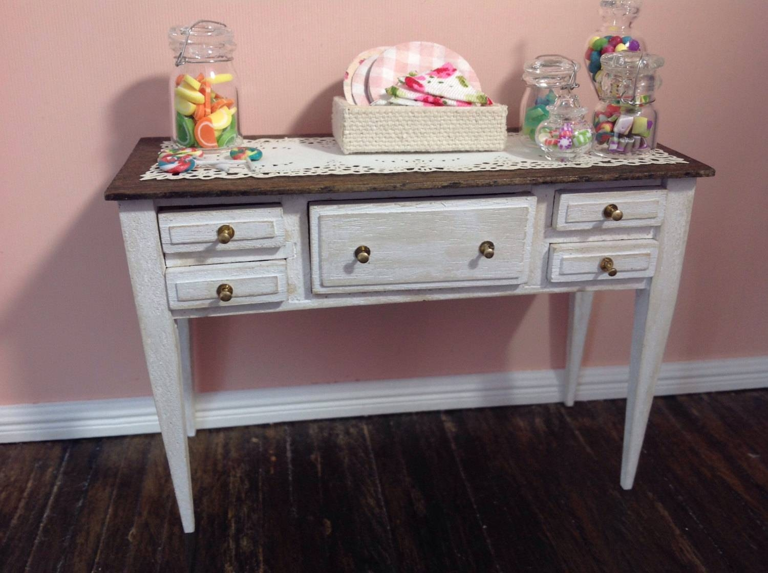 Miniature 1:12 Scale Shabby Chic Sideboard Or Buffet,distressed With White Distressed Sideboards (View 8 of 15)