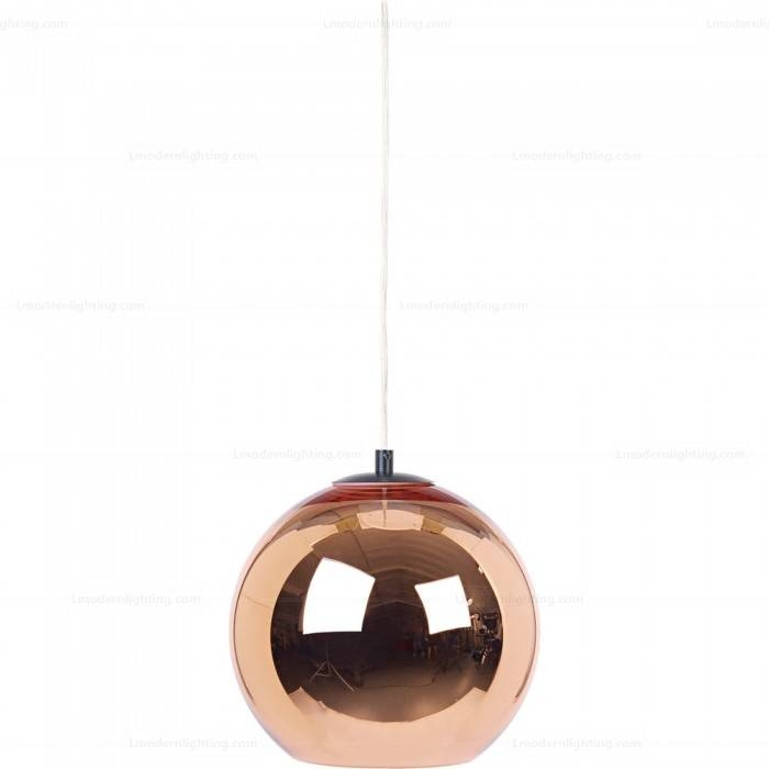 Mirror Glass Copper Shade Ball Pendant Light D20 Regarding Best And Newest Mirror Pendant Lights (#10 of 15)