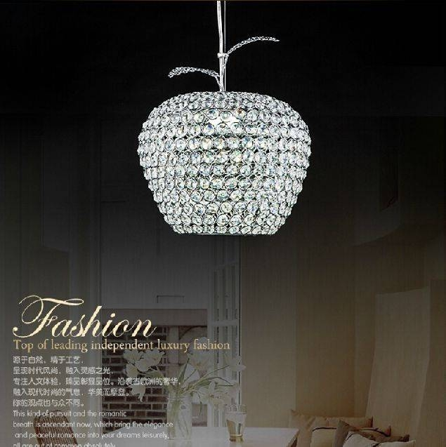 Modern Apple Stainless Steel Led Lamps Crystal Pendant Lights Pertaining To Newest Apple Pendant Lights (View 12 of 15)