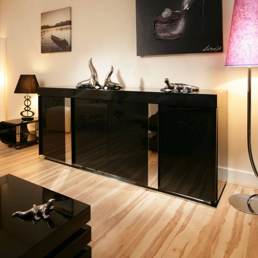 Modern Black Gloss Sideboard / Cabinet / Buffet  (#10 of 15)
