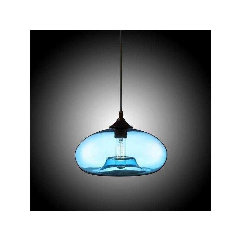 Modern Glass Pendant Light In Blue Bubble Design Inside Current Modern Glass Pendant Lighting (View 11 of 15)