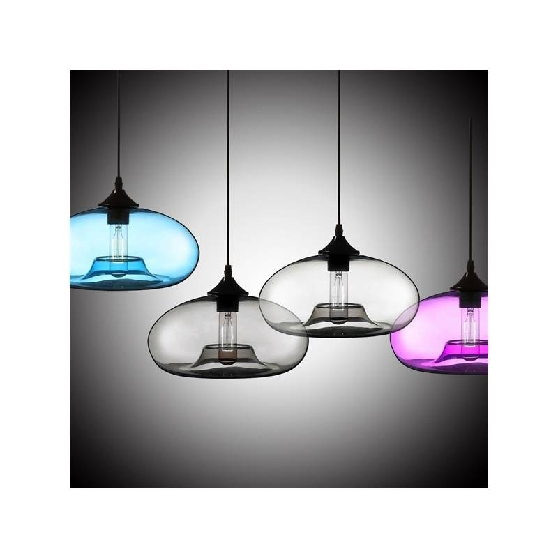 Modern Glass Pendant Light In Blue Bubble Design Pertaining To Recent Modern Glass Pendants (View 12 of 15)