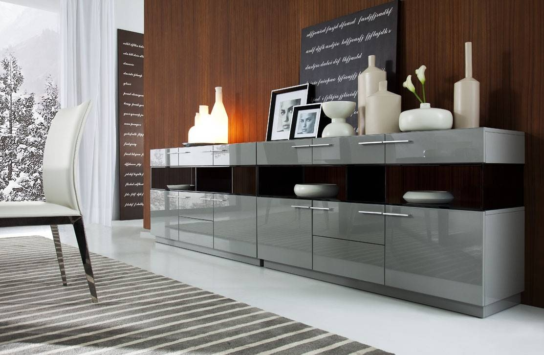 Modern Grey Gloss Buffet For Modern Dining Room Sideboards (#10 Of 15)