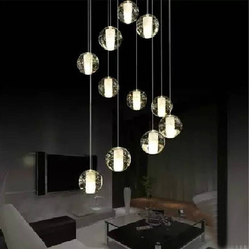 Modern Led Crystal Pendant Lamp Multi  Light Linear Pendant Light Within Newest Bubble Pendant Lights (#13 of 15)