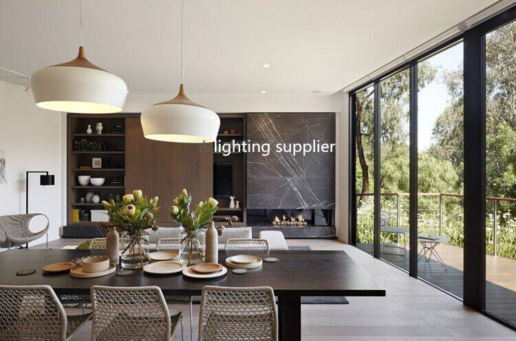 Modern Pendant Light Wood And Aluminum Lamp Black/ White In Current Dining Pendant Lights (#12 of 15)