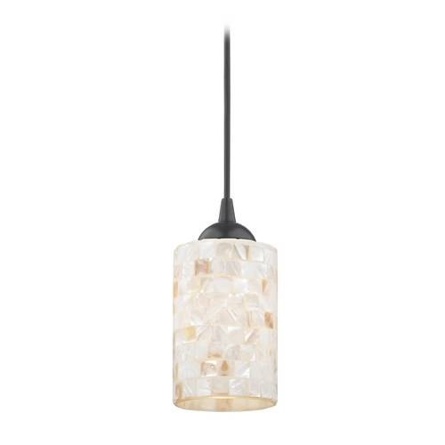 Mosaic Mini Pendant Light With Cylinder Glass In Black Finish Within Mini Pendant Lights (View 4 of 15)