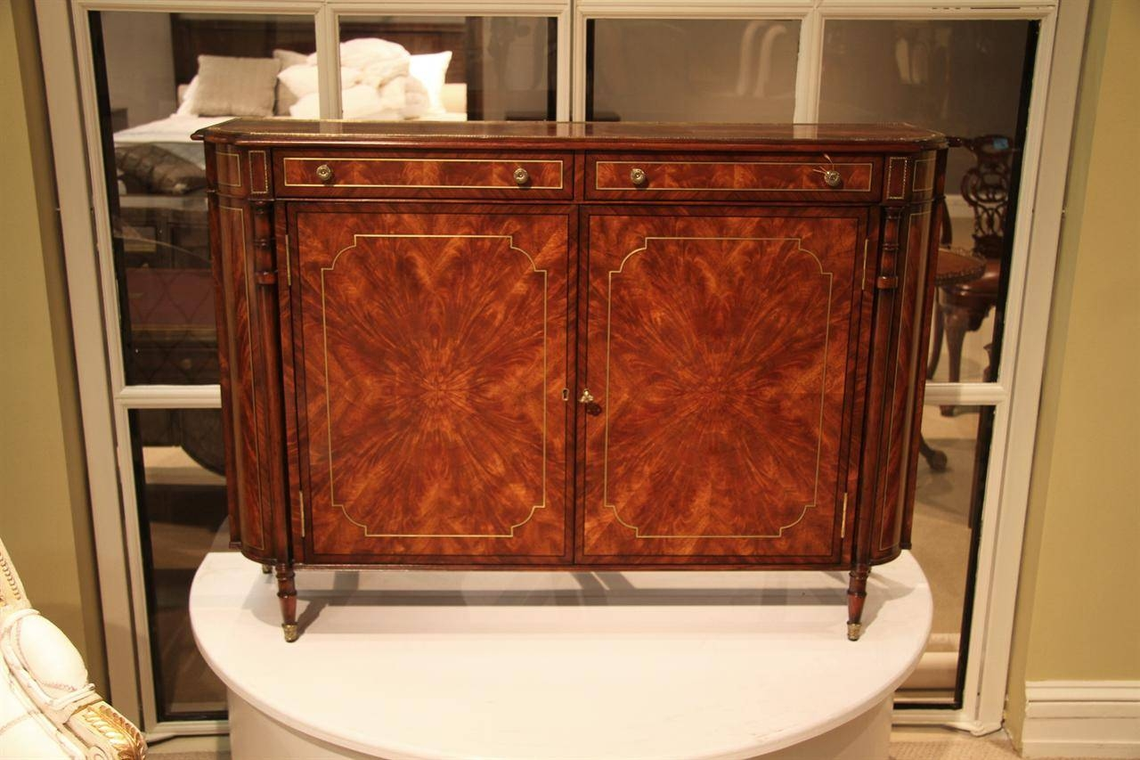 Narrow Mahogany Regency Buffet Or Console Table With Brass Inlay Throughout Mahogany Buffet Sideboards (View 15 of 15)