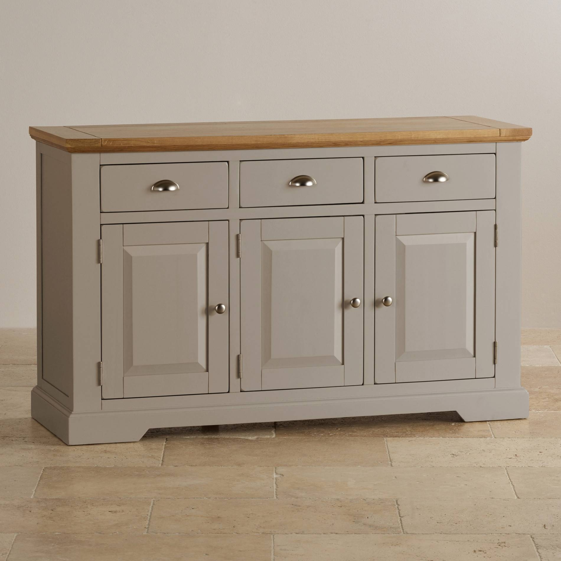 Natural Oak And Light Grey Painted Large Sideboard (#11 of 15)