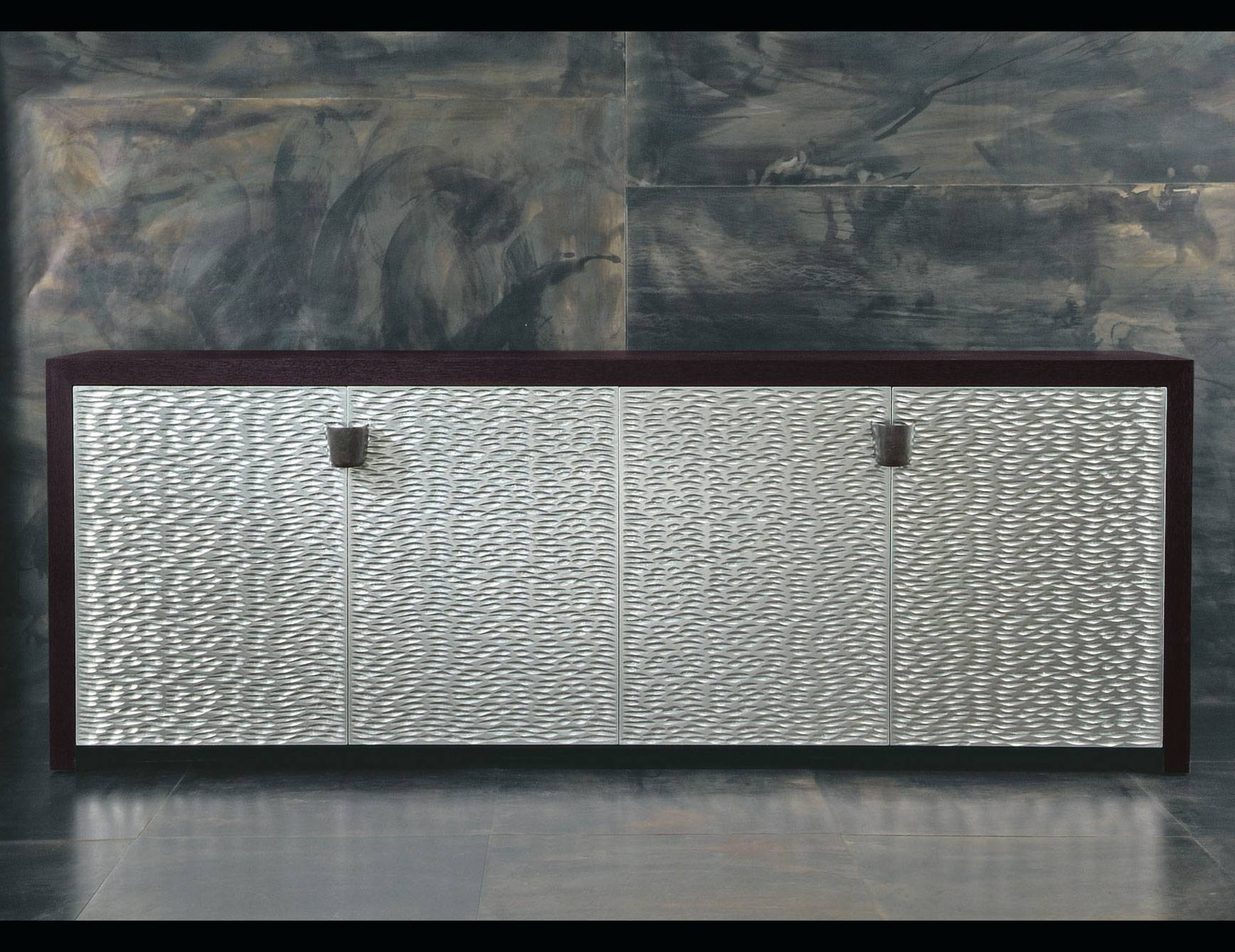 Nella Vetrina Rugiano Shiroma 6027/big Wenge Silver Sideboard With Regard To Black And Silver Sideboards (#7 of 15)