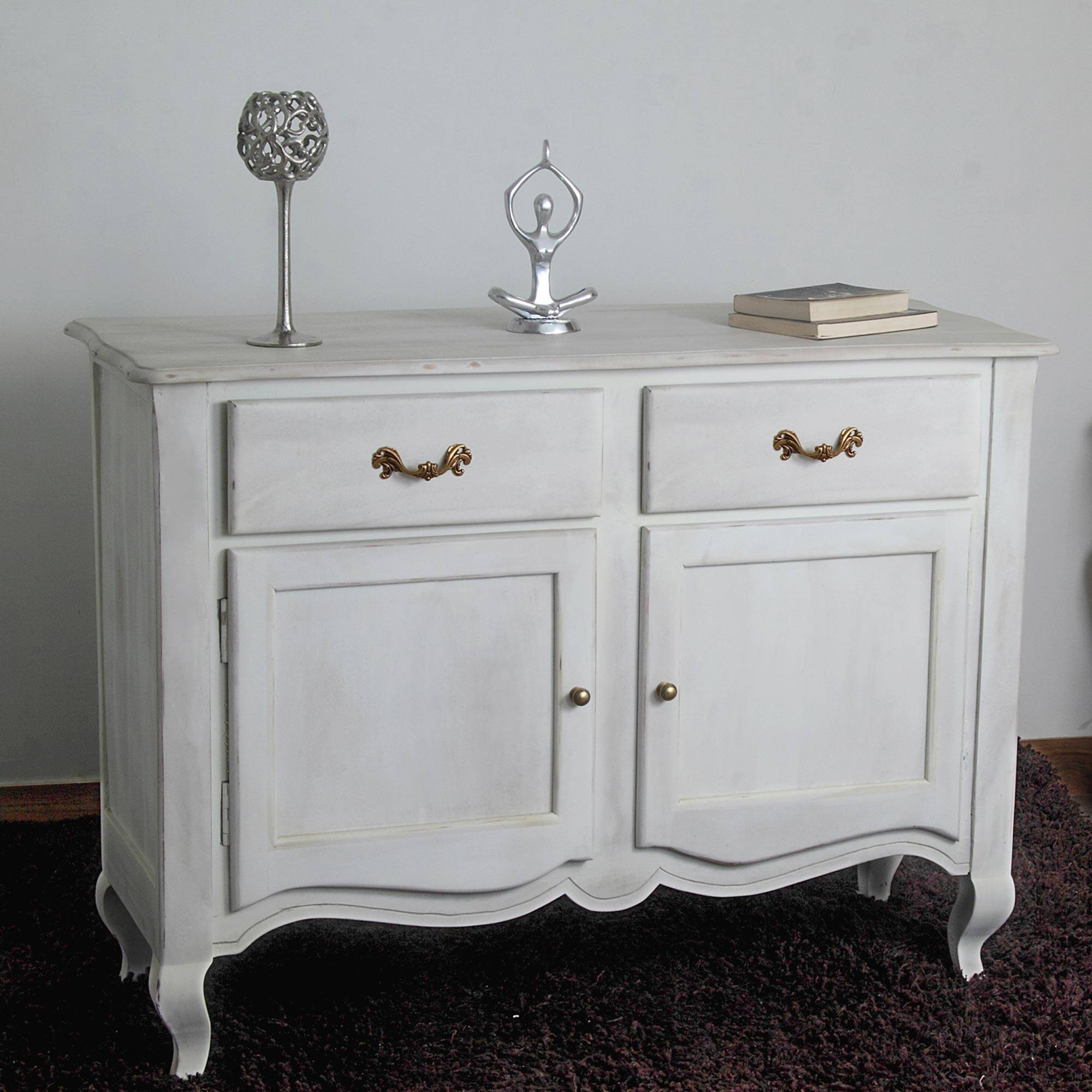 New Orleans Distressed White Finish Vintage Sideboard – Homescapes Intended For White Distressed Finish Sideboards (#10 of 15)
