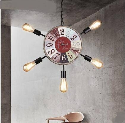 Nordic Retro 5 Clock Pendant Lights Simple Living Room Restaurant In Most Popular Clock Pendant Lights (#12 of 15)